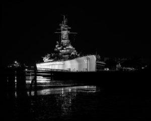 Battleship at Low Tide